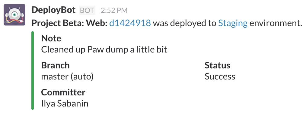 Deployment notifications to your Slack channel
