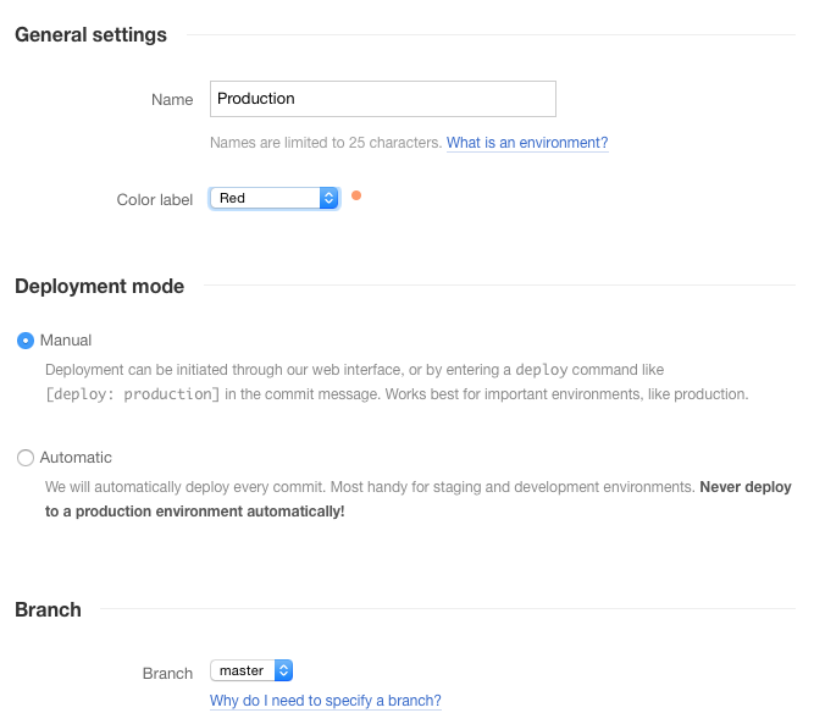 Settings for Laravel Deployment Tool