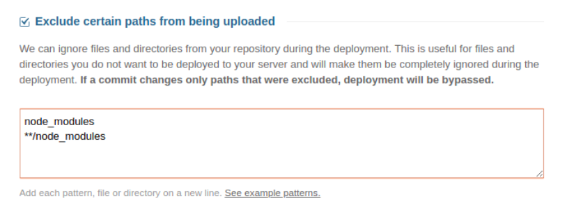 Exclude certain paths from being uploaded