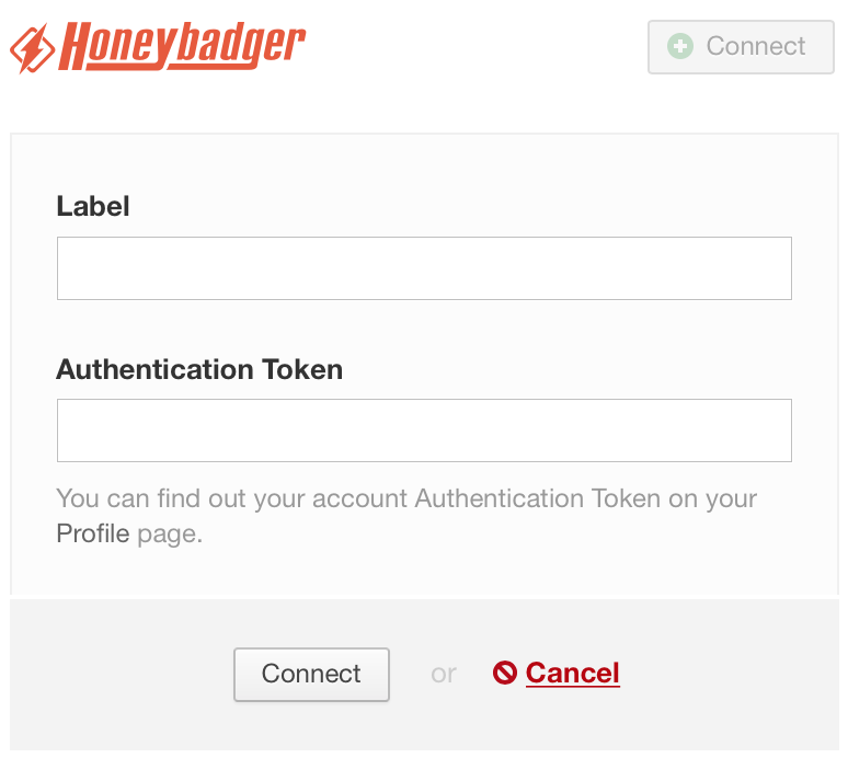A screenshot of the Label and Authentication Token fields for configuring Honeybadger in DeployBot.
