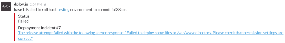 Failed deployment in Slack