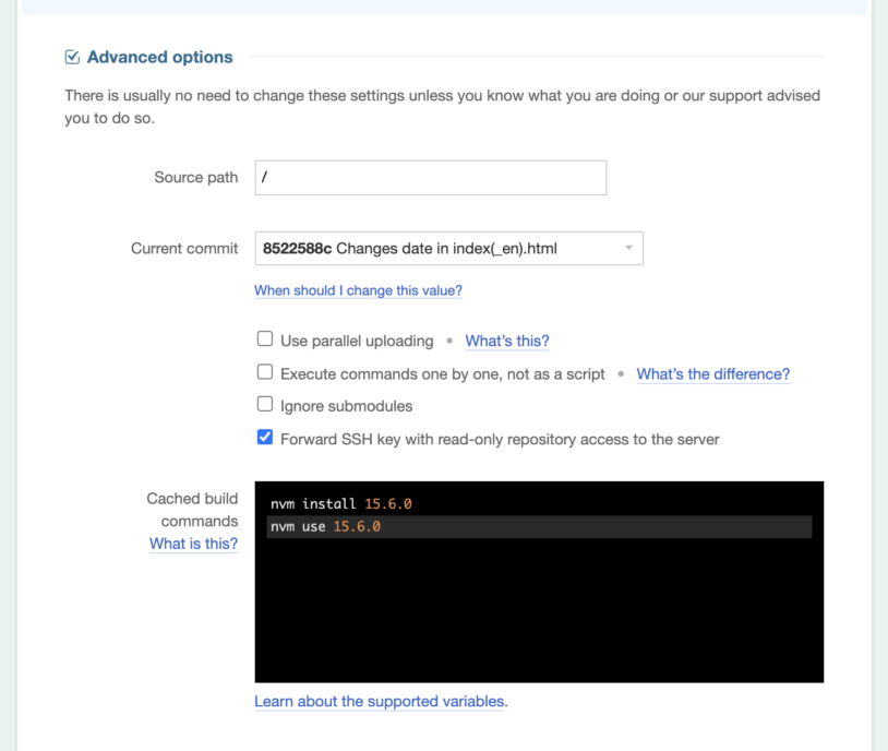 The DeployBot Advanced options dialog: entering cached build commands