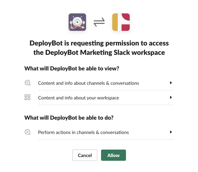 DeployBot is requesting permission to access Slack.
