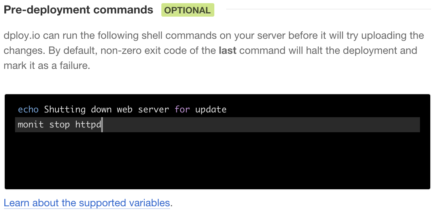 Specify pre-deployment commands