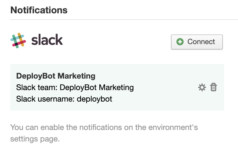 Your newly connected Slack account in DeployBot's dashboard